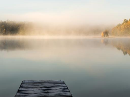 Steg mit Blick auf einen ruhigen See.